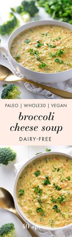 Cheesy Vegan Broccoli Soup Paleo, Dairy Free) This paleo broccoli cheese soup is rich and creamy, easy to make, and a perfect paleo fall recipe. compliant and totally dairy-free, there's plenty of cheesy flavor with none of the lactose an Paleo Fall Recipes, Baby Food Recipes, Soup Recipes, Vegetarian Recipes, Cooking Recipes, Healthy Recipes, Vegan Soups, Recipes Dinner, Clean Eating Diet