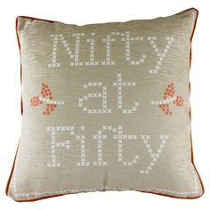 Bring a touch of quirky charm to your bedspread or sofa with this beige cushion, featuring white typographical detailing. It is perfect for adding a homely t...