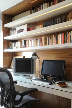 home office- wood panelling and hidden lighting