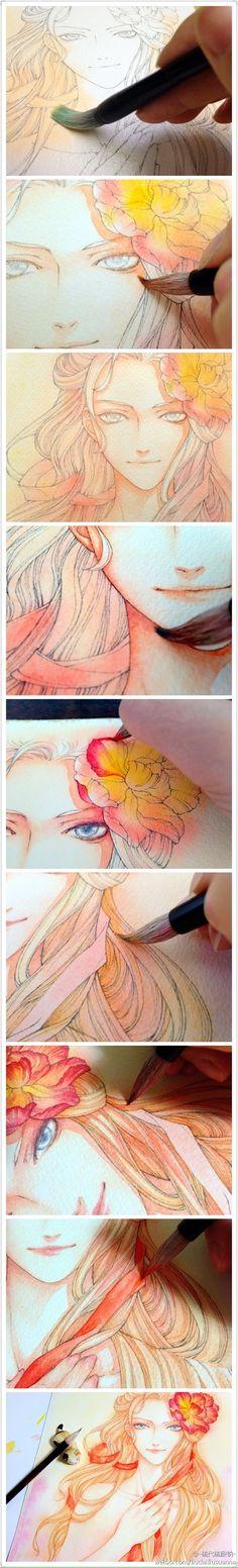 【绘画教程】硫代硫酸钠 的插画 20120218上色过程。铅笔的底稿线,水粉上色。