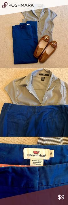 Vineyard Vines blue cropped pants These blue cropped ankle length pants from Vineyard Vines are in good condition. They are Machine washable. Perfect for fall and great for the office or the weekend! Top and shoes also for sale. Vineyard Vines Pants Ankle & Cropped
