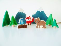 Winter Woodland Play Set Wooden Toy Fox Bear Owl by Zooble