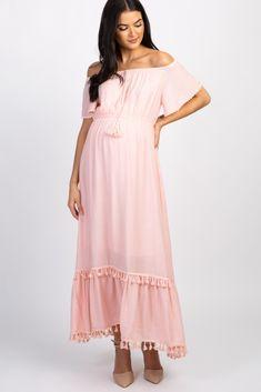 7887704da46 Pink Tassel Off Shoulder Maternity Dress Off Shoulder Maternity Dress
