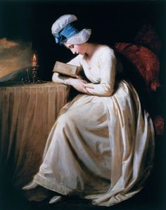 George Romney - Lady Hamilton as Serena Reading (ca. 1780-85). Depicts Serena, the heroine of the poem 'Triumphs of Temper' by the artist's friend and biographer William Hayley (1745-1820), a lady of the sweetest temper and constant good humour who is rewarded by a happy marriage. The character became a role model for fashionable ladies of the time, and was the subject of several other works by the artist.