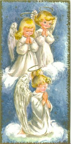 Vintage 1961 Christmas Greeting Card these are like the angels my mom drew