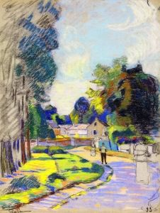 Village Street with Three Figures - Armand Guillaumin - The Athenaeum