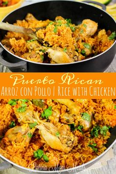 Arroz Con Pollo (Puerto Rican rice with chicken) Easy and flavorful, this one pot arroz con pollo (rice with chicken) is a Puerto Rican classic dinner dish the whole family will enjoy! Comida Boricua, Boricua Recipes, Puerto Rican Recipes Rice, Puerto Rican Arroz Con Pollo Recipe, Puerto Rican Dishes, Puerto Rican Chicken, Sofrito Recipe, Mexican Food Recipes, Ethnic Recipes