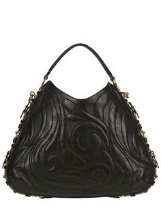SALVATORE FERRAGAMO - LARGE FERGIE EMBROIDERED LEATHER BAG - LUISAVIAROMA - LUXURY SHOPPING WORLDWIDE SHIPPING - FLORENCE