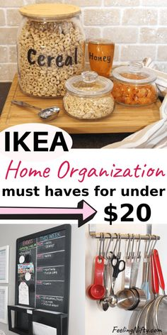 7 MUST-HAVE Ikea Organization Ideas that are under $20. Ikea hacks for the office, kitchen, toys in kids playroom and for the home. Ideas and hacks that can also be used for crafts storage using storage boxes and bins, organizing tips, pantry jar ideas, laundry room jars, drawer dividers for clothes, etc. Easy Ikea organization hacks that can be done on a budget  #ikeahacks #ikeaideas #ikeahack