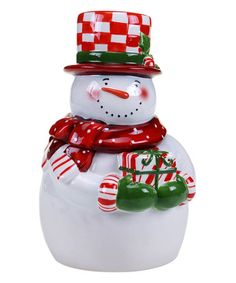 Look at this #zulilyfind! Candy Cane Snowman Cookie Jar #zulilyfinds