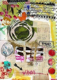 Art journal page by Roben-Marie Smith Art Journal Pages, Art Journals, Collages, Sketchbook Inspiration, Art Sketchbook, Psychedelic Art, Art Adulte, Art Doodle, Art Du Collage