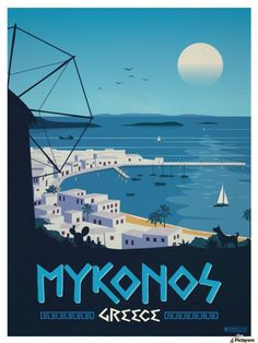 mykonos greece travel poster