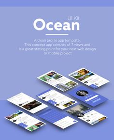 Today I'll bring you something new! Ocean Free Mobile Apps UI Kit is a pack of clean profile app template. This concept app consists of 7 views and is a great starting point for your next web design or mobile project. Very easy to use since it's available in PSD format with smart object. Then, you can easily drop your design and it's ready!