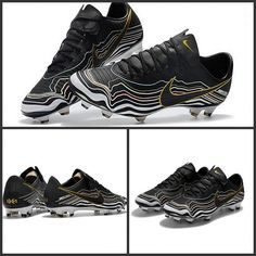 Scarpe Calcio Nike 2018 Mercurial Vapor 11 FG CR7 Nero Bianco Oro Zapatos  De Fútbol 51910f08da05c