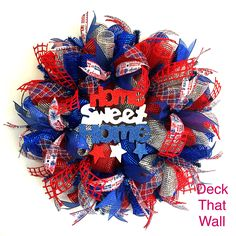 Red, Blue and Silver Fourth of July Mesh Wreath