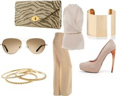 Tan and white with a touch of gold, created by jennafer0052 on Polyvore