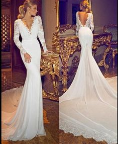 A492 Chiffon Lace Deep V Neck Long Sleeves Wedding Gowns Open Back Sexy Lace Wedding Bridal Gowns, Chapel Train Long Sleeve Wedding Dresses 2017