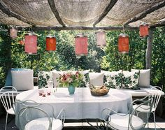 patio with pink paper lanterns