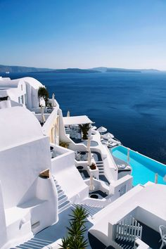 Katikies Hotels is a line of boutique hotels in Oia, Santorini, Greece. Located in a veritable paradise, the hotel is stark white walls in striking contrast with the bright blue sea.