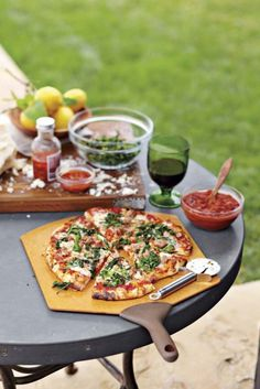 Outdoor Wine Party with Different recipes for Grilled Pizza's.