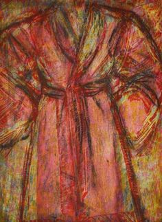 JIM DINE Rosy Robe 1998 Woodcut and cardboard intaglio on Arches Cover White Sheet: 63-3/4″ x 42-1/16″ (161.9 x 106.8 cm) Image: 61-1/4″ x 40-3/4″ (155.6 x 103.5 cm) Edition of 13 + 2 AP Jonathan Novak Contemporary Art, Los Angeles #jimdine #bathrobe #robe