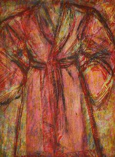 JIM DINE Rosy Robe 1998 Woodcut and cardboard intaglio on Arches Cover White Sheet: 63-3/4″ x 42-1/16″ (161.9 x 106.8 cm) Image: 61-1/4″ x 40-3/4″ (155.6 x 103.5 cm) Edition of 13 + 2 AP Jonathan Novak Contemporary Art, Los Angeles #jimdine #bathrobe #robe