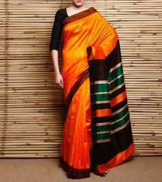 Orange, Dark Green & Black Stripped Raw Silk Saree
