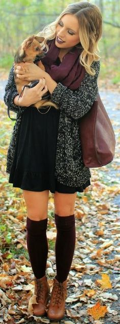 Dress, perfect cognac lace up boots, scarf, cardigan, black, socks, tights, dark lips.
