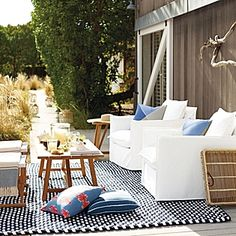 Outdoor Rope Rug – Navy/White | Serena & Lily