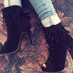 Black Lace Up Fringe Booties