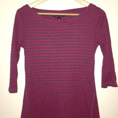 Banana Republic Top Striped Pink & Grey Top by Banana Republic, 3/4 Lenghth Sleevs w Buttons, OFFERS WELCOME!!!! ✨✨✨ Banana Republic Tops Tees - Long Sleeve