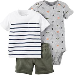 Carters_1 Boy Diaper Cover Set Stripe Tee and Olive Btm 9 Months *** You can find out more details at the link of the image.Note:It is affiliate link to Amazon.