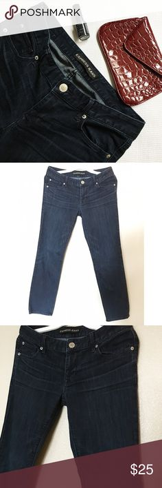 "Express Dark Tint Denim Blue Jeans Size 8S Short These skinny Express jeans are a wardrobe staple and in great condition. Size 8S. 8 Short. Inseam is about 28"". Express Jeans"