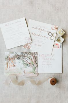 Pretty invitation suite including a unique Save the Date. Wedding Photographers : Koman Photography Read More on SMP: http://www.stylemepretty.com/2016/08/12/classic-rancho-las-lomas-summer-wedding/