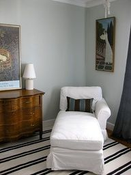 Lovely gray + white: Benjamin Moore Gray Cashmere + striped rug by xJavierx, via Flickr