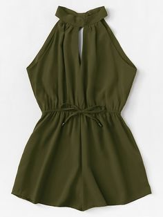 Shop Drawstring Waist Halter Jumpsuit at ROMWE, discover more fashion styles online. Girls Fashion Clothes, Teen Fashion Outfits, Mode Outfits, Outfits For Teens, Girl Fashion, Girl Outfits, Fashion Women, Cute Comfy Outfits, Cute Summer Outfits
