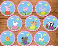 Peppa Pig Cupcake Toppers Pink Chevron // by ApothecaryTables