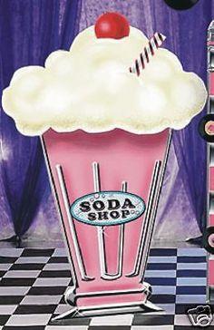 Big 50's Milkshake Cardboard Party Decoration Fifties Sock Hop Car Rock Party | eBay