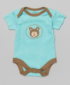 Look what I found on #zulily! Blue Bear Appliqué Organic Bodysuit - Infant by My O Baby #zulilyfinds