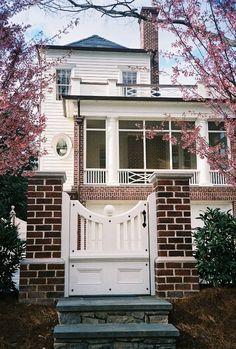 gate on bluestone steps/ brick columns