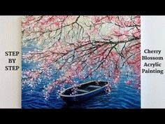 Cherry Blossom STEP by STEP Acrylic Painting (ColorByFeliks) - Hobbies paining body for kids and adult Acrylic Painting For Beginners, Acrylic Painting Techniques, Step By Step Painting, Beginner Painting, Painting Videos, Acrylic Painting Canvas, Painting Abstract, Eiffel Tower Painting, Cherry Blossom Painting
