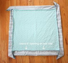 Quick DIY Self-binding Baby Blanket tutorial.