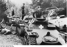 German Panzer I, Panzer II, and SdKfz. 251 vehicles in Poland, circa 3 Sep 1939.