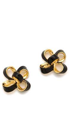 small enamel bow earrings