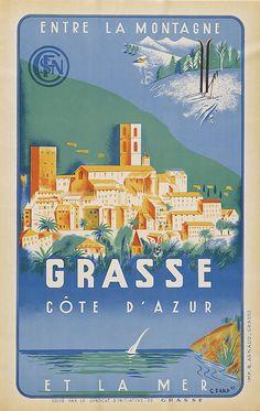 Vintage Railway Travel Poster - SNCF - Grasse - Côte d'Azur - by G. Bard.