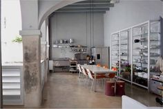 industrial open air kitchen::via NYT article A Rural Oasis in the City Indoor Outdoor Kitchen, Outdoor Cooking, Cool Kitchens, Dream Kitchens, Puerto Ricans, Kitchen And Bath, Urban, Interior Design, Architecture