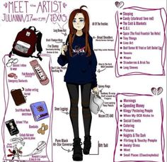 "Example of a ""Meet the Artist"" page prompt with self-portrait, outfit details, your artist tools, likes and dislikes."