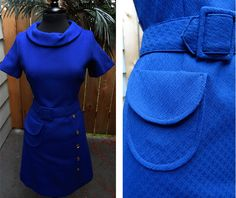 VTG Blue Mad Men Style Dress