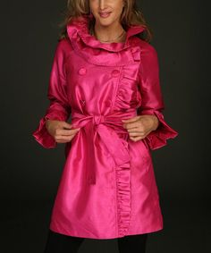 Look what I found on #zulily! Hot Pink Ruffle Collar Silk-Blend Jacket - Women by ROSSI ROMA #zulilyfinds