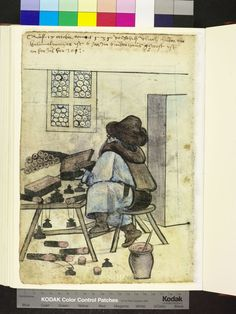 Amb. 317.2° Folio 153 verso Vlrich Huber makes ink horns and penners (Look at the pen case) 1560S